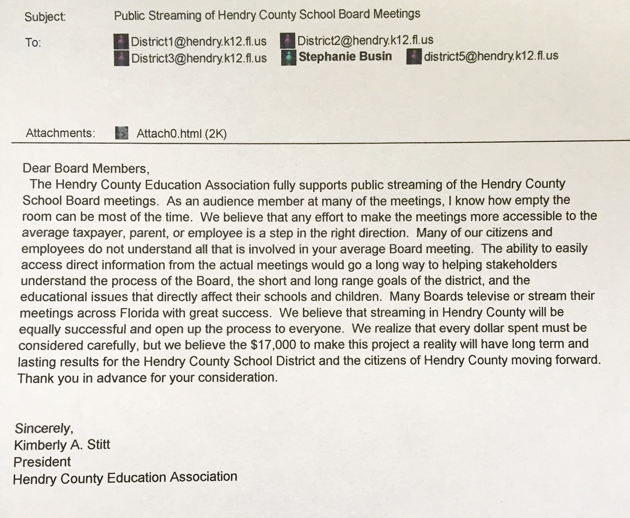 HCEA Support for Streaming Email